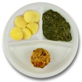 Veg. gehaktbal met vegetarische jus, gekookte aardappelen, spinazie à la crème