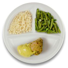 Gevulde kipfilet met roomkaas en kerriesaus, witte rijst, sperzieboontjes GLUTENVRIJ