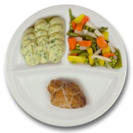 Kiprollade tutti frutti met kruidenjus, aardappelpuree met persillade, gemengde groente