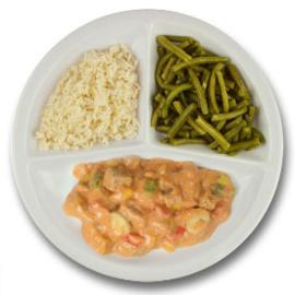 Boeuf stroganoff, witte rijst, sperziebonen
