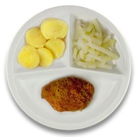 Kip gehakt cordon bleu met jus, gekookte aardappelen, koolrabi