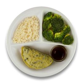 Veg. omelet champignons jus, witte rijst, broccoli