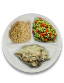 Kippenragout met peterselie, volkoren rijst, flageolets met tomaat ZONDER TOEGEVOEGD ZOUT