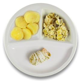 Tongschar-zalm met hollandaisesaus, gekookte aardappelen en prei a la crème  ZONDER TOEGEVOEGD ZOUT & KALIUMBEPERKT