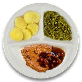 Varkensfiletlapje tomaat-tijmjus, gekookte aardappelen, snijbonen
