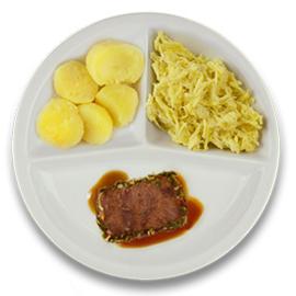 Rundercarré met kruidenjus, gekookte aardappelen, witte kool kerriesaus ZONDER TOEGEVOEGD ZOUT