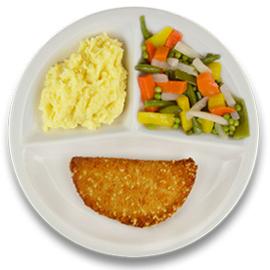Veg. cordon bleu met jus, aardappelpuree, gemengde groenten