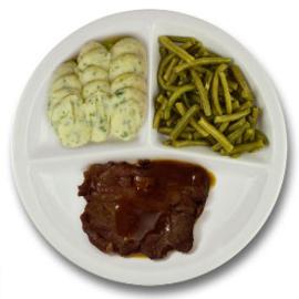 Rundersukade met vleesjus, aardappelpuree met persillade, sperziebonen GLUTENVRIJ