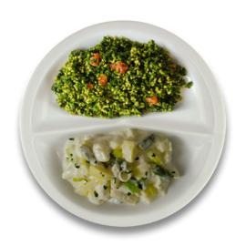 Veg. aspergeragout, bulgur met spinazie en tomaat