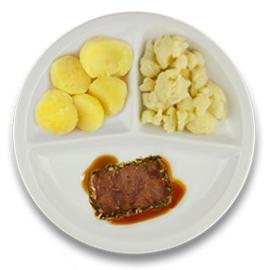 Rundercarré met kruidenjus, gekookte aardappelen, bloemkool