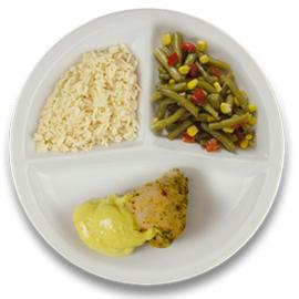 Gevulde kipfilet roomkaas kerriesaus, witte rijst, wokgroenten ZONDER TOEGEVOEGD ZOUT & KALIUMBEPERKT