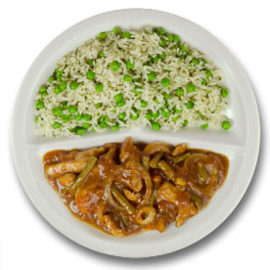 Javaanse kip met five-spices, kruidenrijst met doperwten