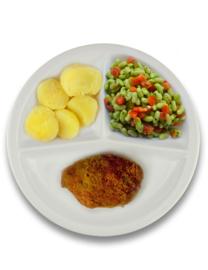 Kipgehakt cordon bleu met jus, gekookte aardappelen, flageolets met tomaat