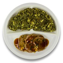 Runderrolladeschijf met tomaat-rozemarijnjus, stamppot boerenkool GLUTENVRIJ