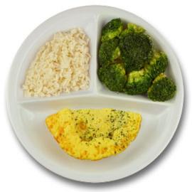 Veg. omelet met kruiden, witte rijst, broccoli