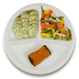 Runderboomstammetje met jus, puree persillade, gemengde groenten