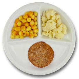 Veg. notenburger met vegetarische jus, gebakken aardappelen, bloemkool