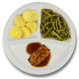 Varkensslavink met vleesjus, gekookte aardappelen, sperziebonen ZONDER TOEGEVOEGD ZOUT & KALIUMBEPERKT