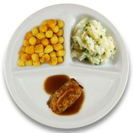 Varkensslavink met jus, gebakken aardappelen, witte kool à la crème kruiden