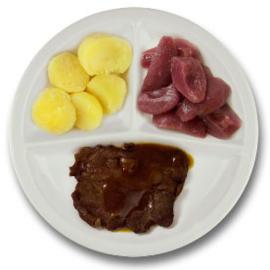 Rundersukade met vleesjus, gekookte aardappelen, stoofpeertjes ZONDER TOEGEVOEGD ZOUT & KALIUMBEPERKT