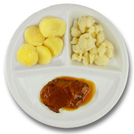 Varkensprocureurlapje met vleesjus, gekookte aardappelen, bloemkool ZONDER TOEGEVOEGD ZOUT & KALIUMBEPERKT