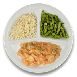 Boeuff stroganoff, witte rijst, sperziebonen  ZONDER TOEGEVOEGD ZOUT & KALIUMBEPERKT