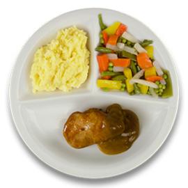 Varkenshaasoester met peperroomsaus, aardappelpuree, gemengde groenten  ZONDER TOEGEVOEGD ZOUT & KALIUMBEPERKT