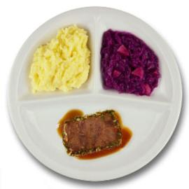 Rundercarré met kruidenjus, aardappelpuree, rode kool met appel