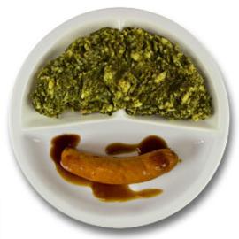 Rookworst met vleesjus, stamppot boerenkool