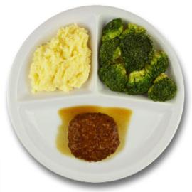 Varkensgehaktbal met vleesjus, aardappelpuree, broccoli LACTOSE BEPERKT