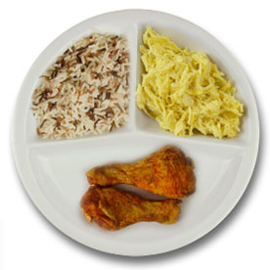 Drumsticks met vleesjus, wilde rijst, witte kool en kerriesaus