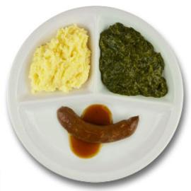Kalfssaucijsje met mosterdjus, aardappelpuree, spinazie à la crème ZONDER TOEGEVOEGD ZOUT