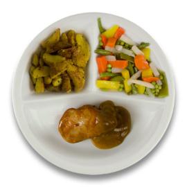 Varkenshaasoester peperroomsaus, gebakken wedges knoflook, gemengde groente ZONDER TOEGEVOEGD ZOUT