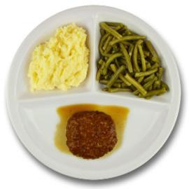 Varkensgehaktbal met vleesjus, aardappelpuree, sperziebonen ZONDER TOEGEVOEGD ZOUT & KALIUMBEPERKT