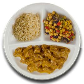 Runderrendang, volkoren rijst, kikkererwten met paprika