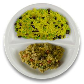 Rundercurry met spinazie, rijst met zwarte boontjes en mint