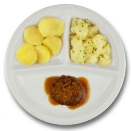 Twentse gehaktbal met vleesjus, gekookte aardappelen, bloemkool à la crème