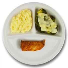 Kalkoenhaasje met kruidenjus, aardappelpuree, broccoli à la crème