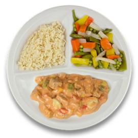 Boeuff stroganoff, witte rijst, gemengde groente GLUTENVRIJ