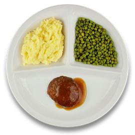 Rundergehaktbal met jus, aardappelpuree, doperwten