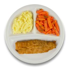Gebakken lekkerbekje met jus, aardappelpuree, wortelen met peterselie