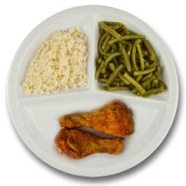 Drumsticks met vleesjus, witte rijst, sperziebonen ZONDER TOEGEVOEGD ZOUT & KALIUMBEPERKT