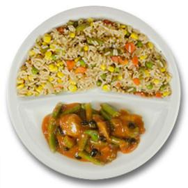 Pikante kip met zwarte boontjes, pikante cajun rijst