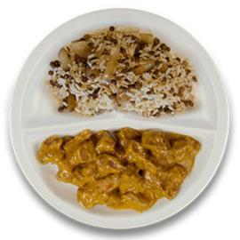 Runderrendang, rijst met linzen en ui ZONDER TOEGEVOEGD ZOUT