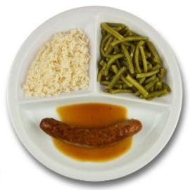 Varkenssaucijsje met mosterdjus, witte rijst, sperziebonen GLUTENVRIJ