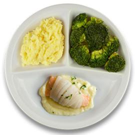 Tongschar-zalmrol met botersaus, aardappelpuree, broccoli ZONDER TOEGEVOEGD ZOUT