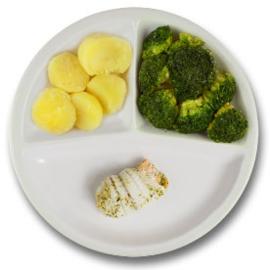 Tongschar-zalmrol met hollandaisesaus, gekookte aardappelen, broccoli ZONDER TOEGEVOEGD ZOUT