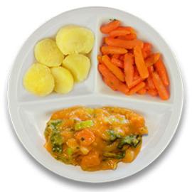Veg. stoofpotje prei en bataat, gekookte aardappelen, wortelen peterselie VEGETARISCH