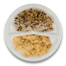 Kip tikka masala, rijst met linzen en ui
