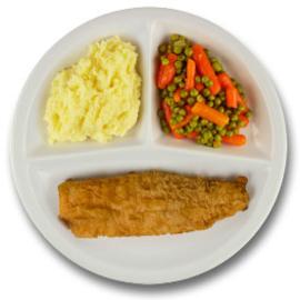 Gebakken lekkerbekje met vegetarische jus, aardappelpuree, wortelen met doperwten GLUTENVRIJ